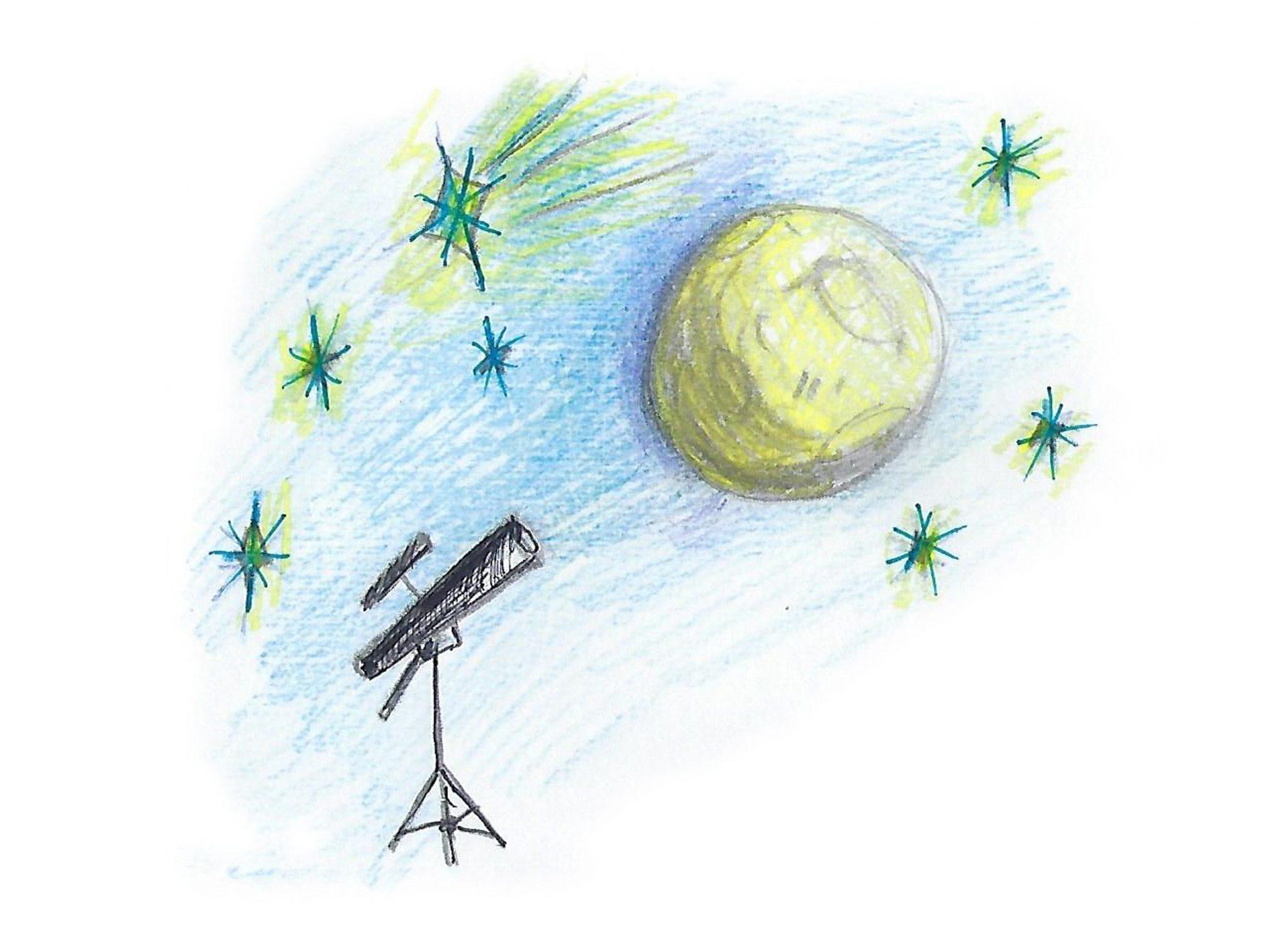 Мы смотрим на Луну! —We look at the moon!